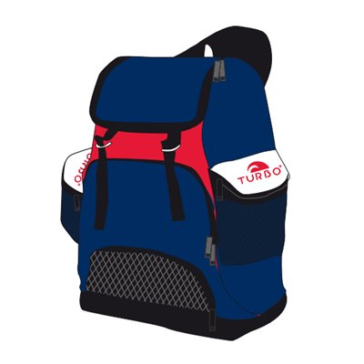 Turbo Waterpolo Luxe Rugzak Draco Navy Red 30L